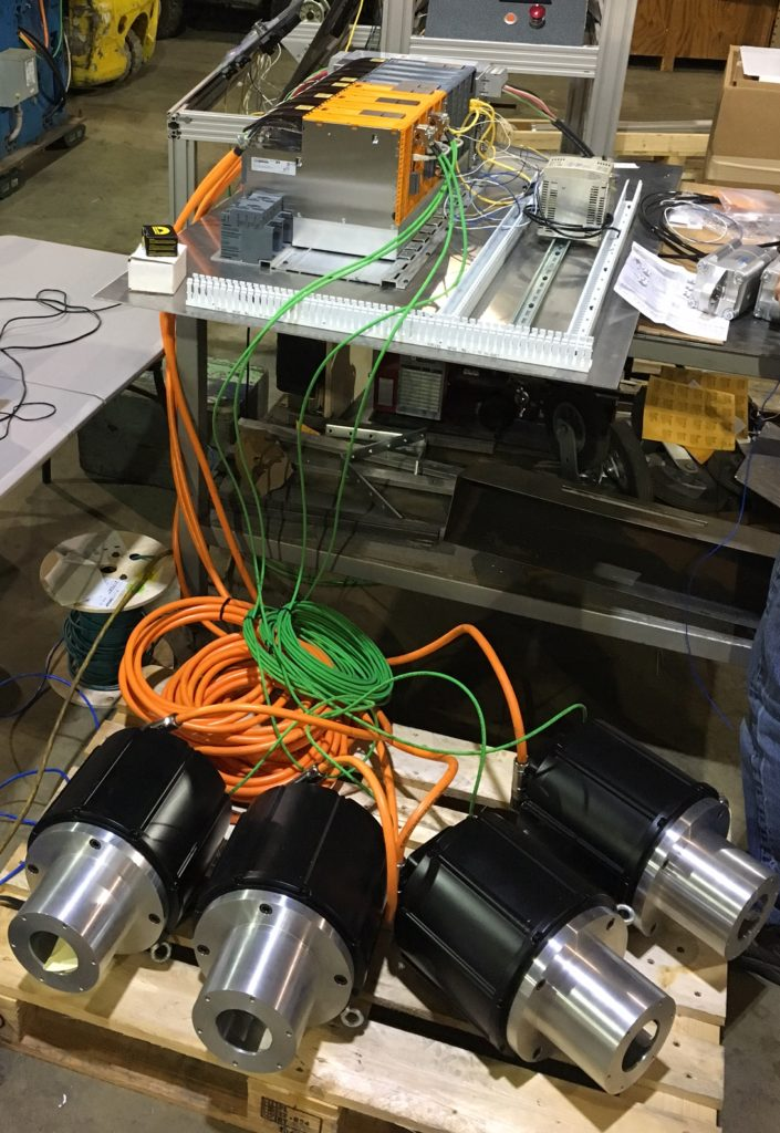Replacement control system for an old RGE 4 color press being tested prior to shipment.