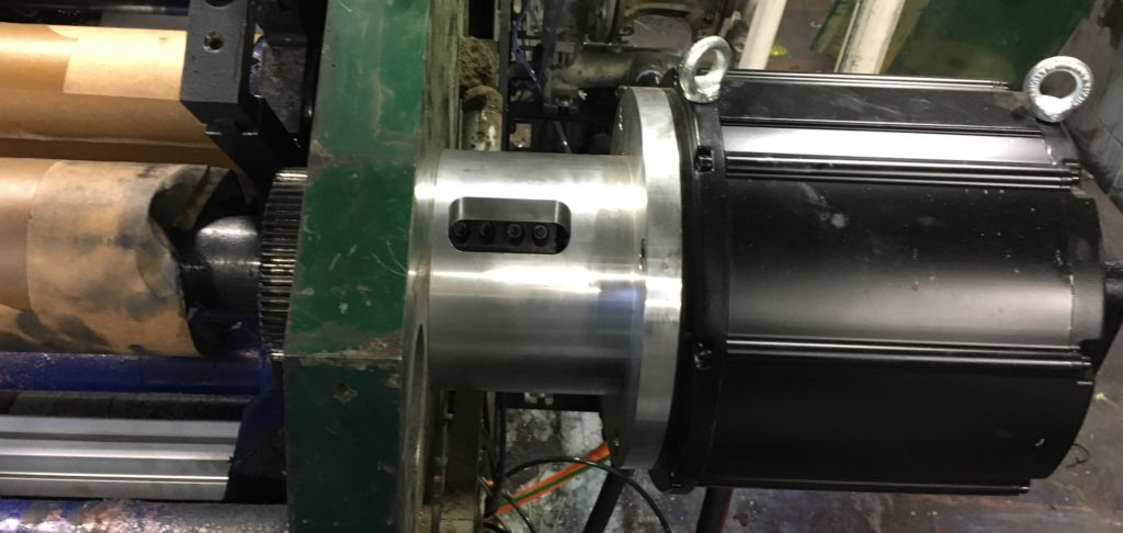 RGE replacement direct drive, hollow shaft servo motor mounted on the machine.